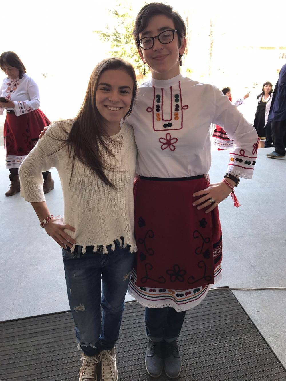 Hannah, in traditional Bulgarian dress, poses with a friend