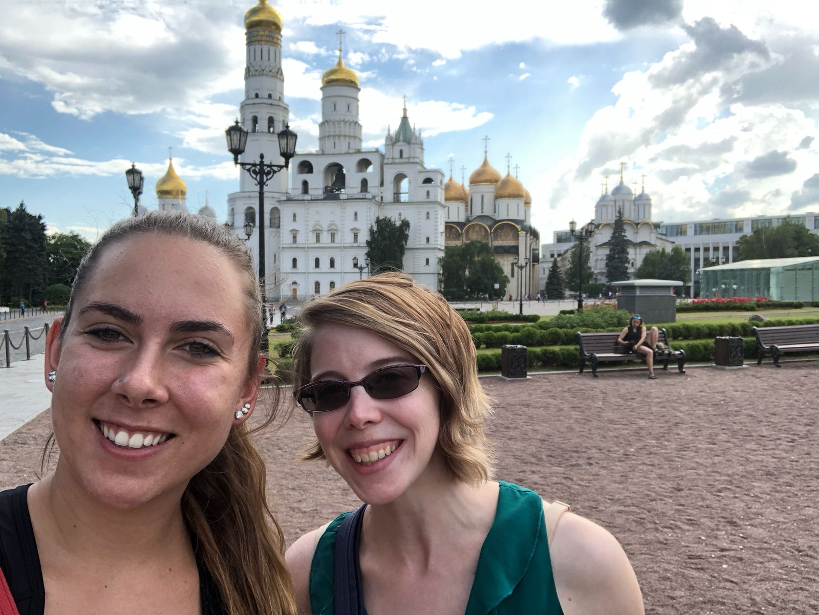 Ms. Williams and one of her younger peers, smiling in front of a cathedral in Russia
