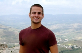 Jesse Lynch, pictured at the Krak des Chevaliers in Syria, during his year on the Arabic Overseas Language Flagship program.