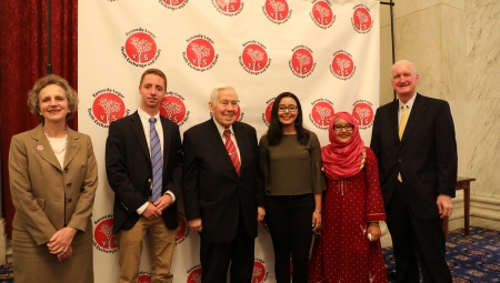 YES student speakers smile with Senator Lugar