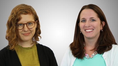 Anna Stewart, left, and Emily Matts Henry, right, posing for professional headshots.