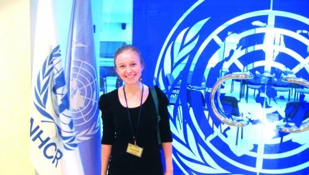 Lehigh University student smiles in front of a UN office