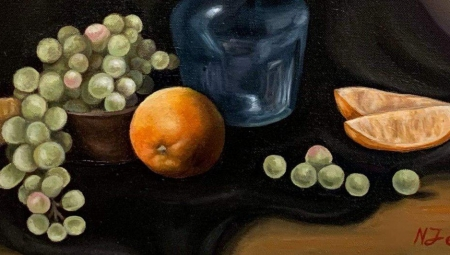 A close up shot of a still life painting of fruit and a vase, in color, with Nikola's signature in the corner