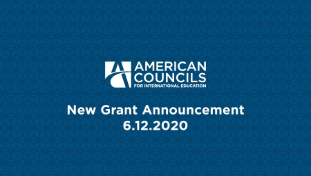 Blue graphic with white logo and text: New grant announcement 6/12/20