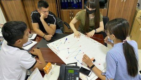 Interns working around a table with a large chart between them